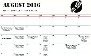 Calendar - August 2016