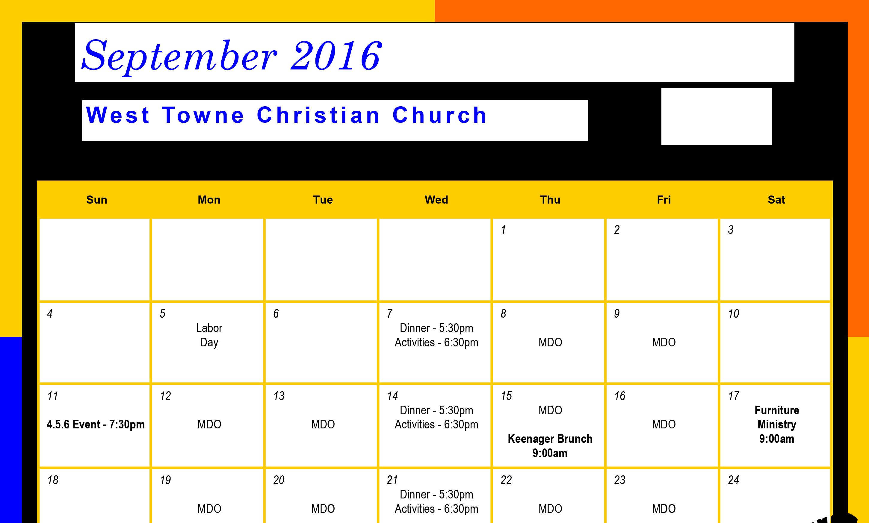 Calendar September 2016 e1472757103779 - Is Kindergarten Mandatory In Tennessee
