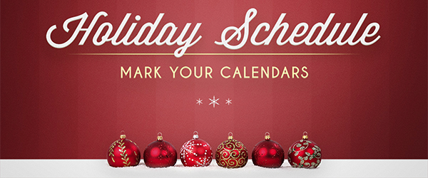 Holiday Schedule West Towne Christian Church